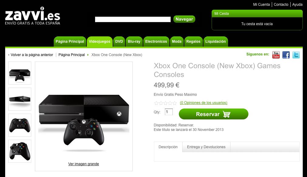 El precio de Xbox One,...