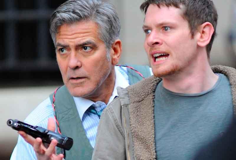 George Clooney y Jack O'Connell en Money Monster