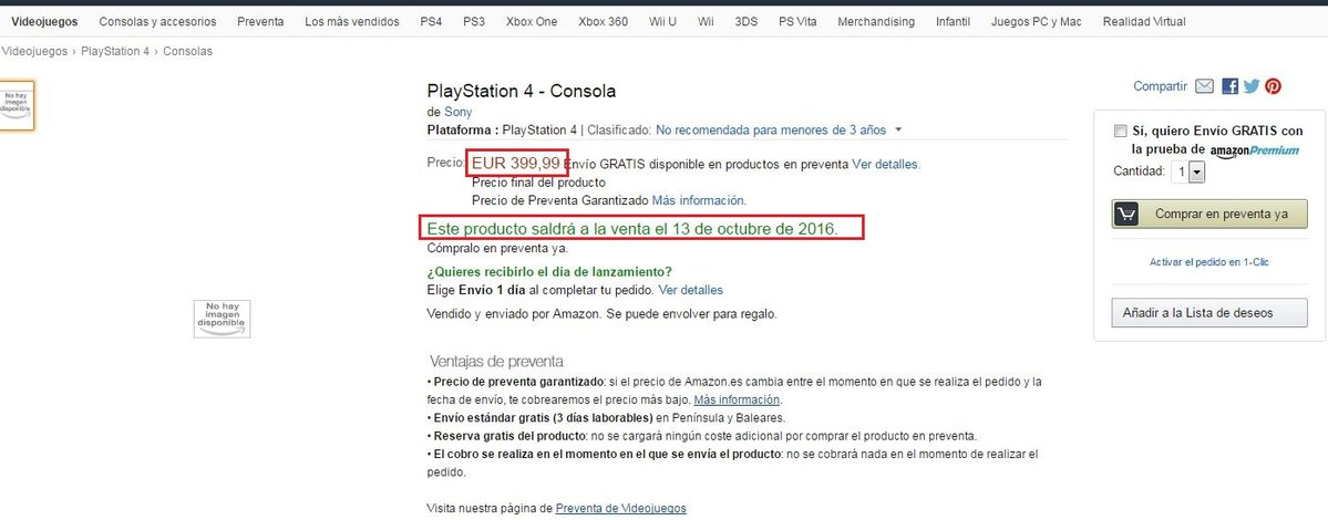 Nueva PS4 en Amazon