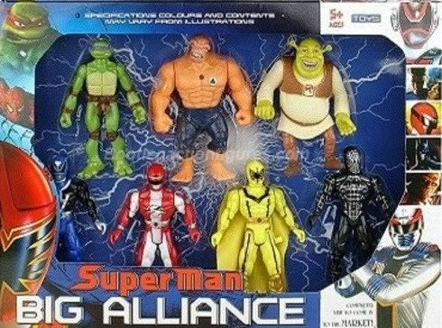 superman big alliance power ranger donatello spiderman shrek la cosa