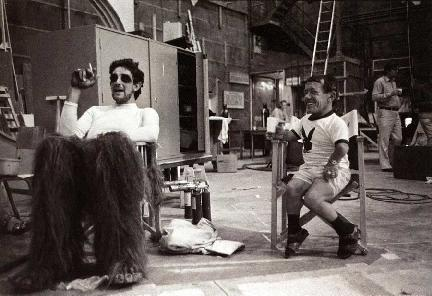 Chewbacca y R2-D2 rodaje Star Wars