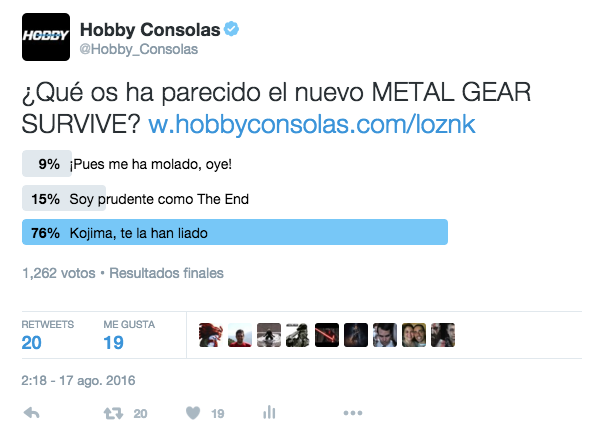 Encuesta Metal Gear Survive