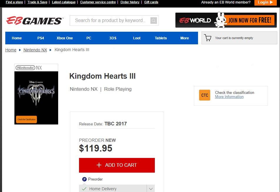 Kingdom Hearts 3 filtrado para Nintendo NX