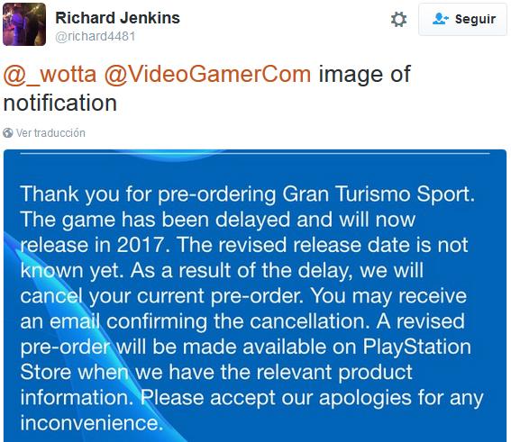 Cancelación GT Sport