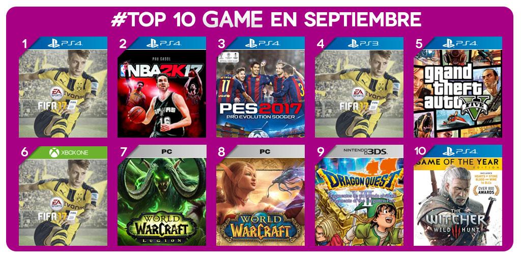 Los juegos más vendidos de septiembre en GAME