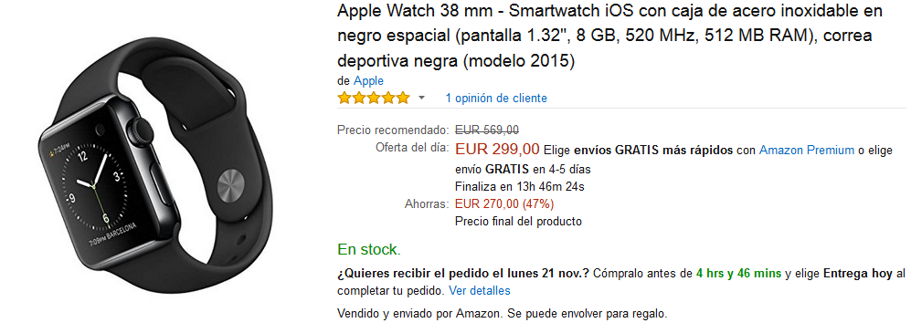 Black Friday Amazon - Apple Watch 38 mm