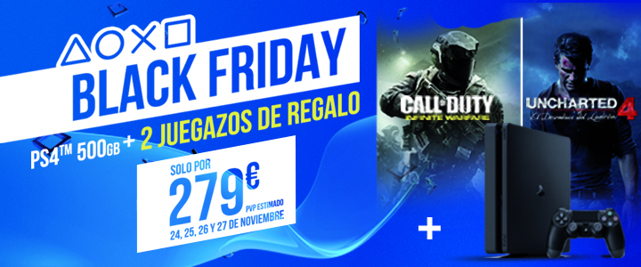 Black Friday - PS4 + Uncharted 4 y Call of Duty Infinite Warfare