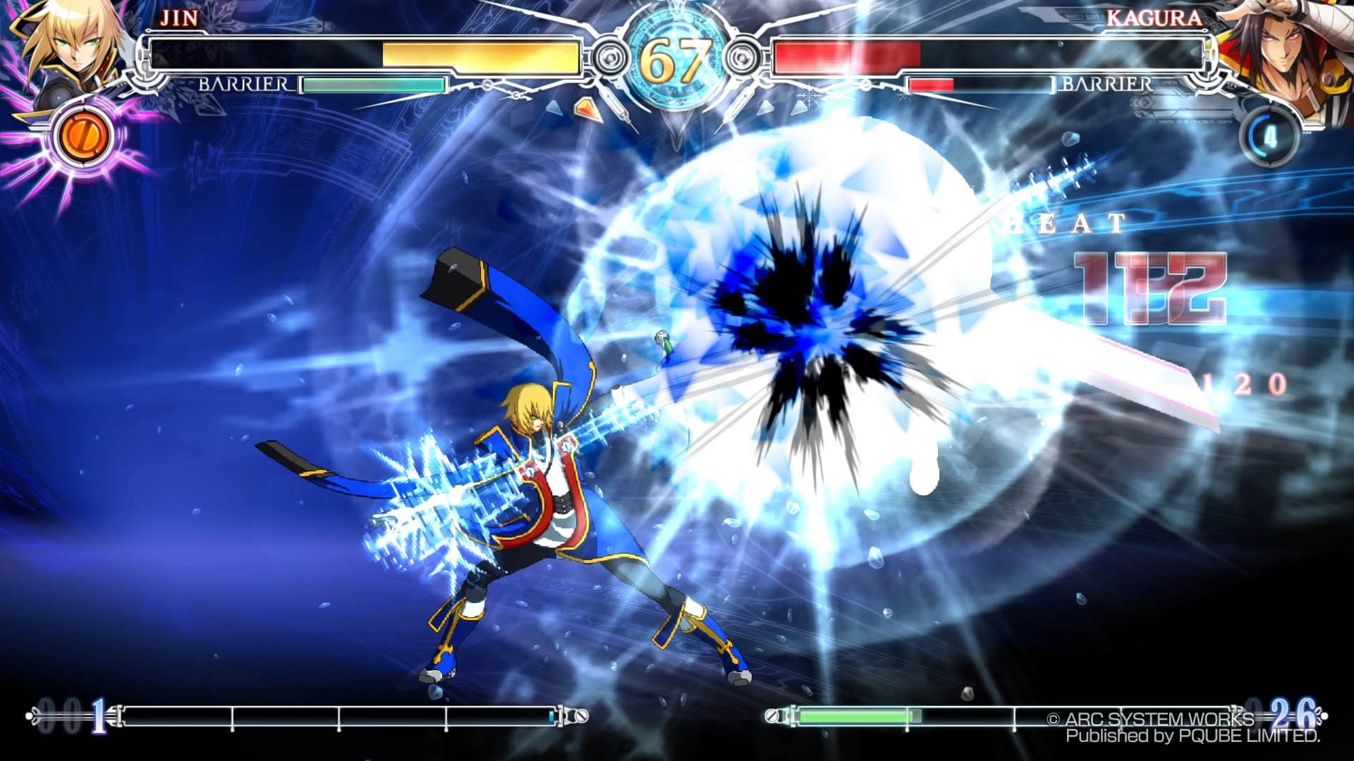 BlazBlue CentralFiction Jin Vs Kagura