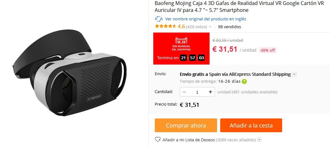 11 del 11 AliExpress - Gafas VR Baofeng Mojing por 31,51 €