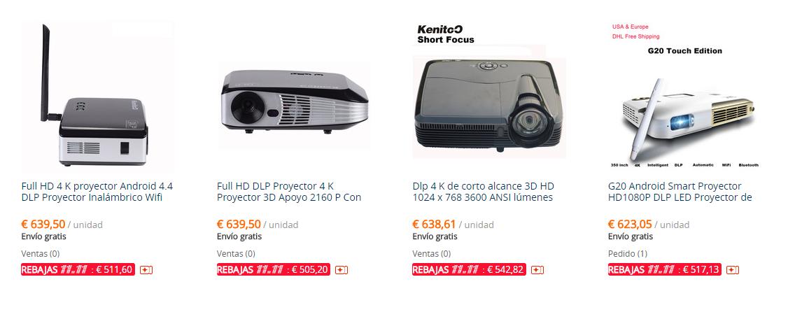 Ofertas en proyectores 4K del 11 del 11 en AliExpress