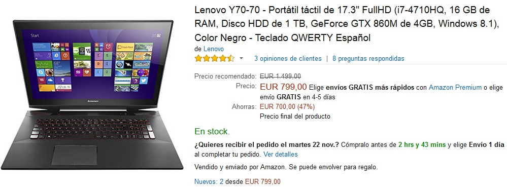 Black Friday Amazon - Portátil Lenovo Y70-70