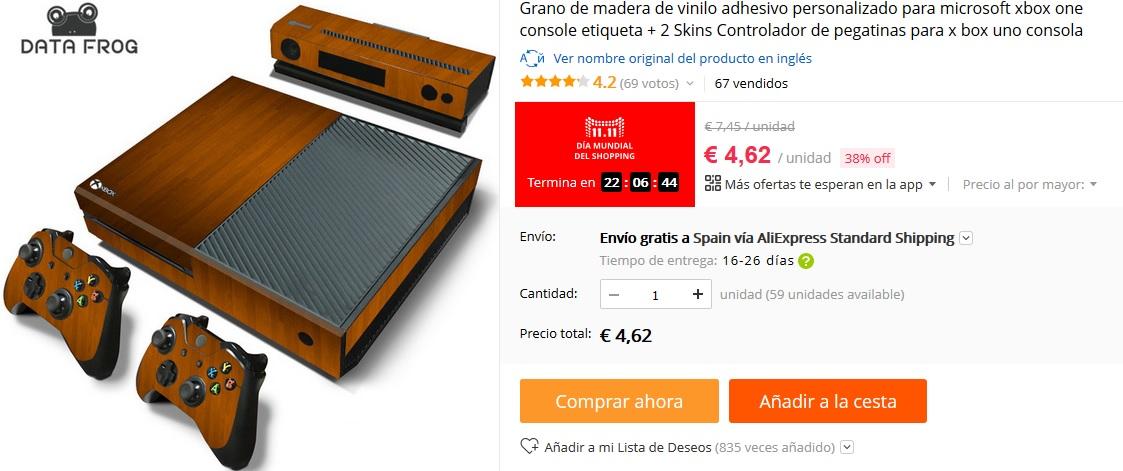 11 del 11 Aliexpress - Vinilo Xbox One madera por 4,62 €