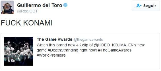 Tweet de Guillermo del Toro contra Konami