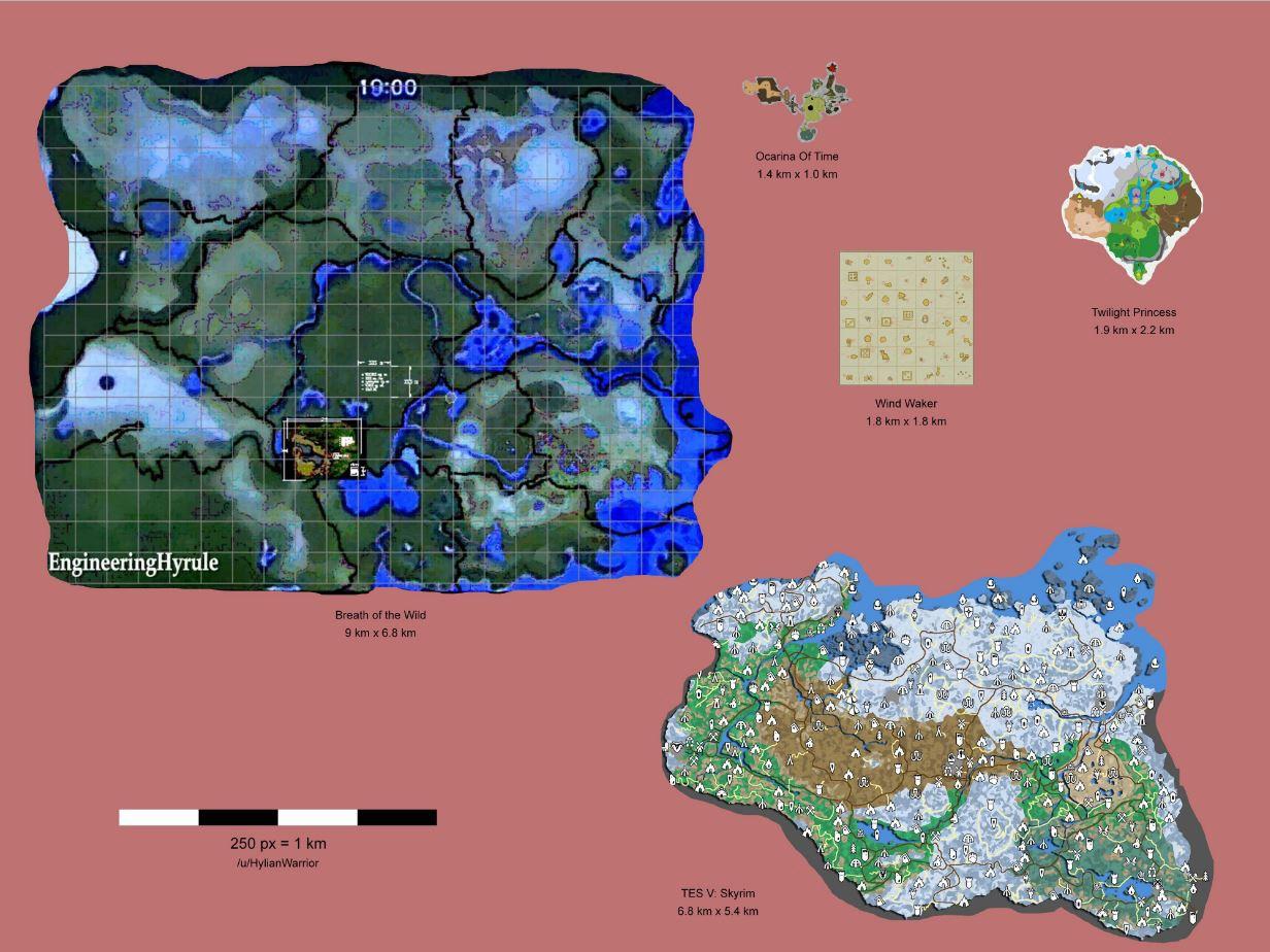 Comparativa mapas Zelda Skyrim