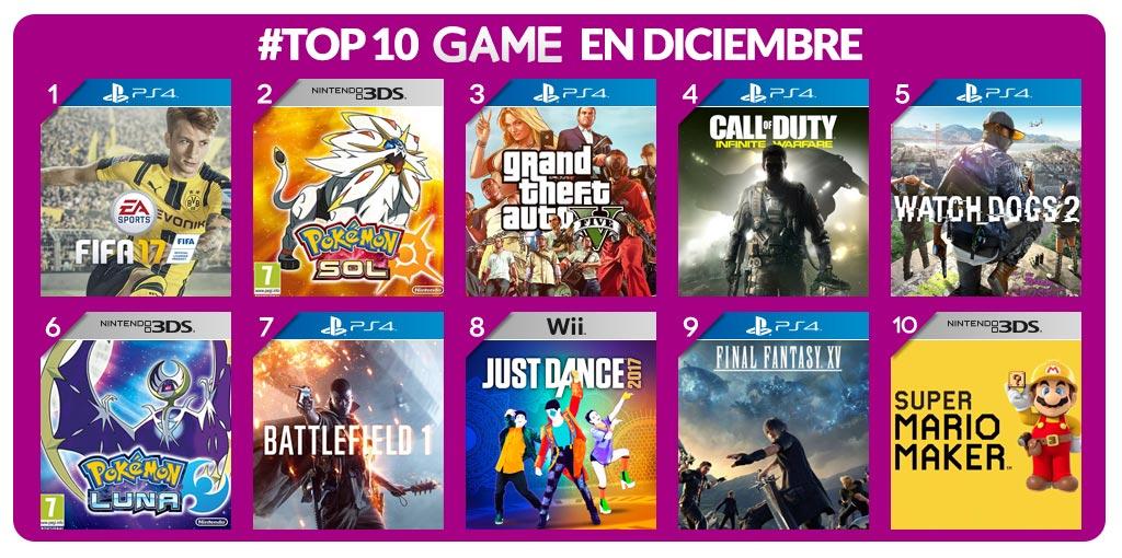 Los juegos más vendidos de diciembre en GAME