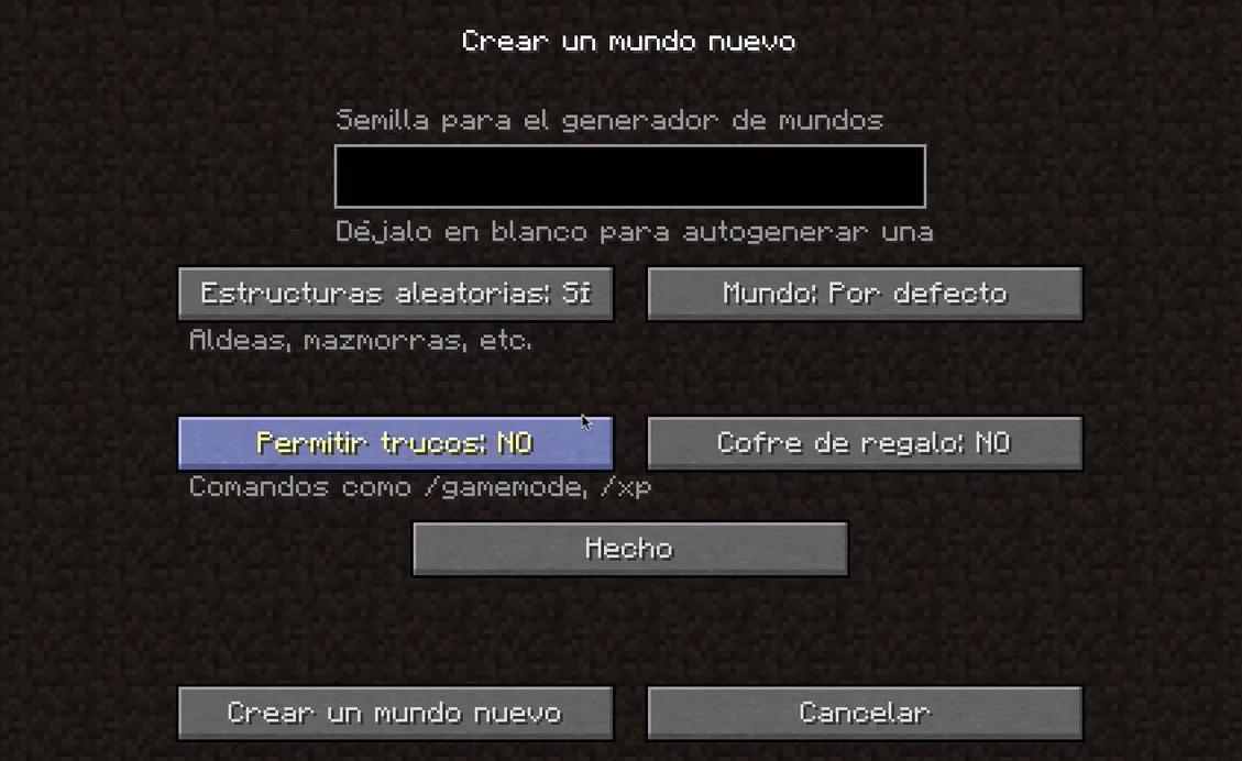 Crear mundo Minecraft