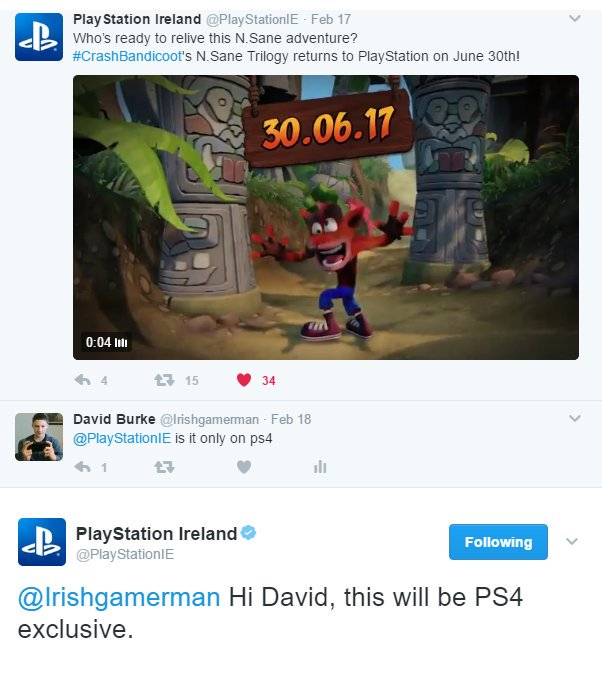 Creash Bandicoot N. Sane Trilogy será exclusivo de PS4