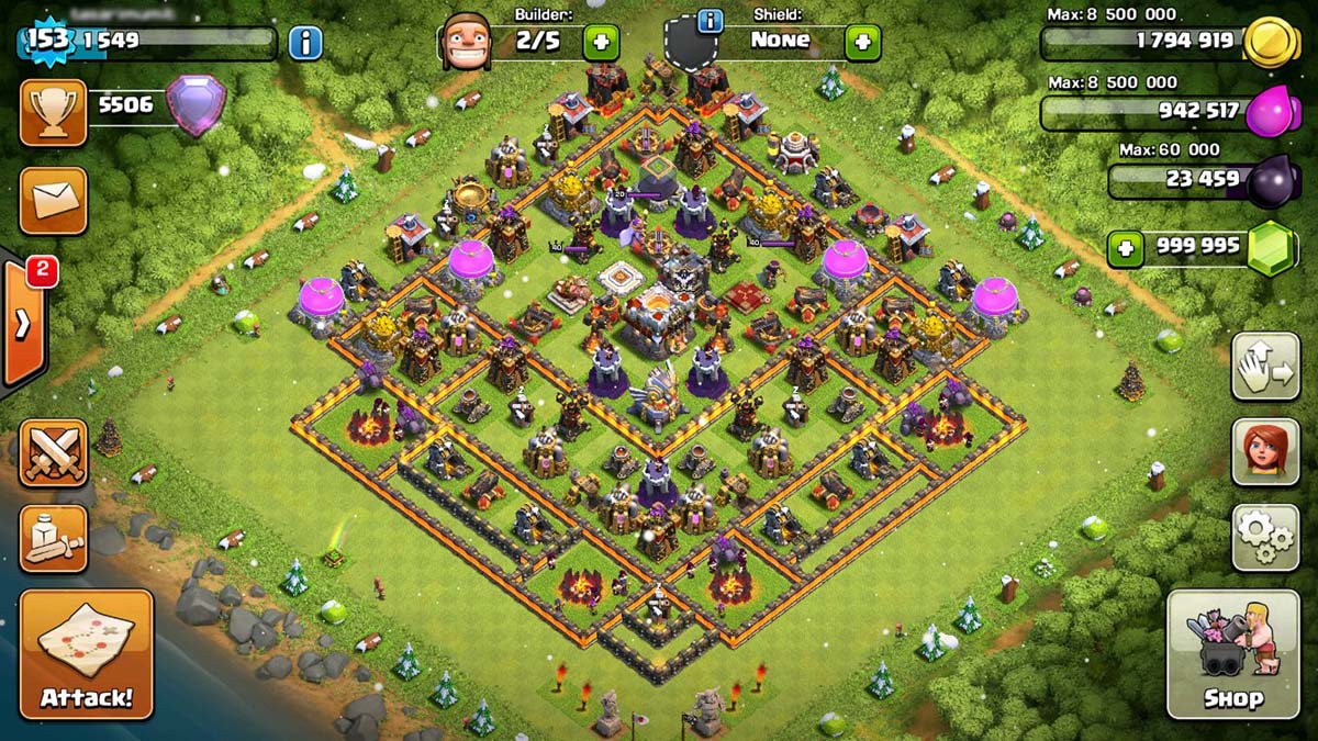 Pantalla principal clash of clans