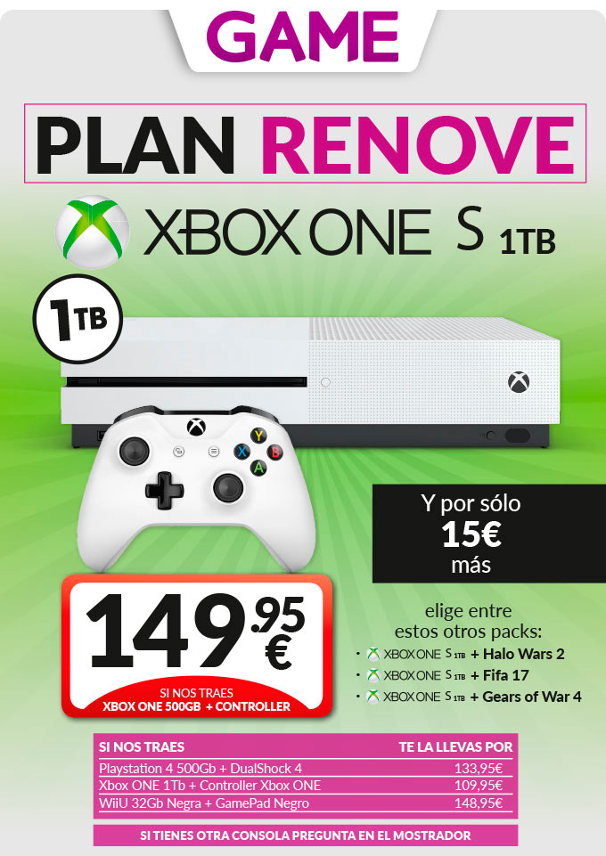 Plan Renove Xbox One S en GAME