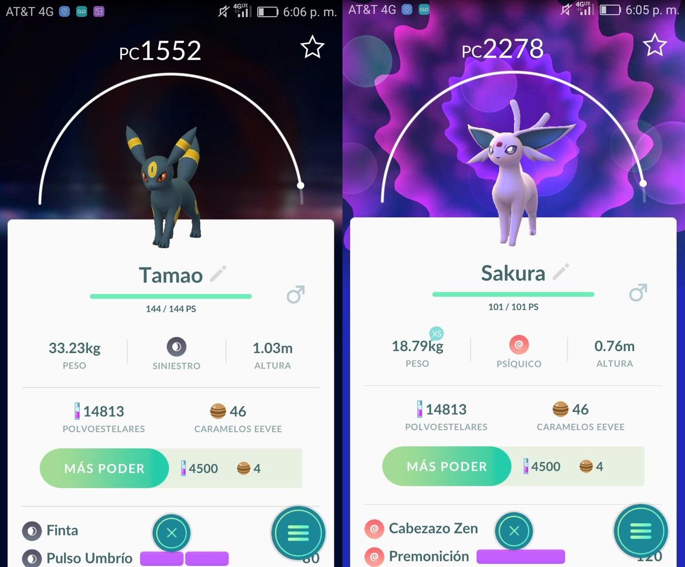 Pokémon GO - Espeon y Umbreon