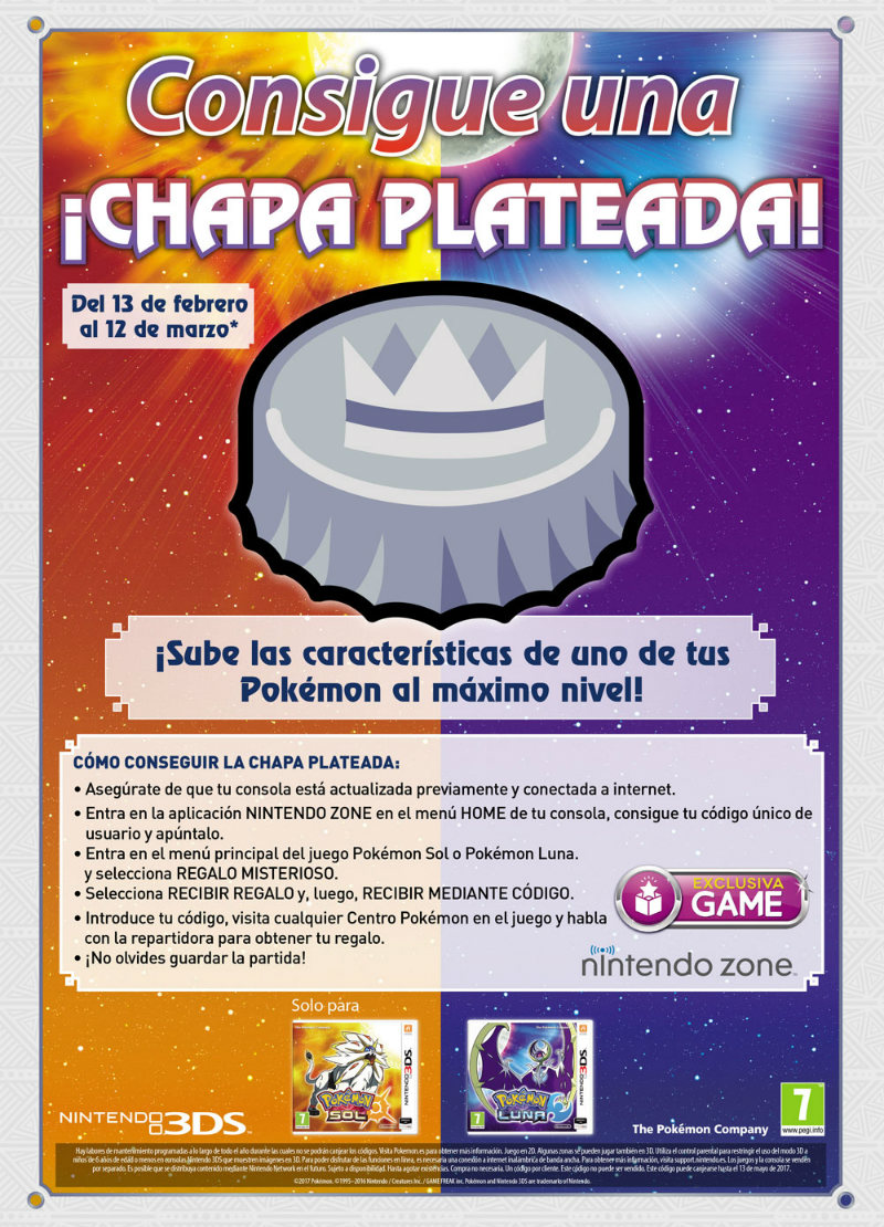 Pokémon Sol y Luna - Chapa plateada GAME