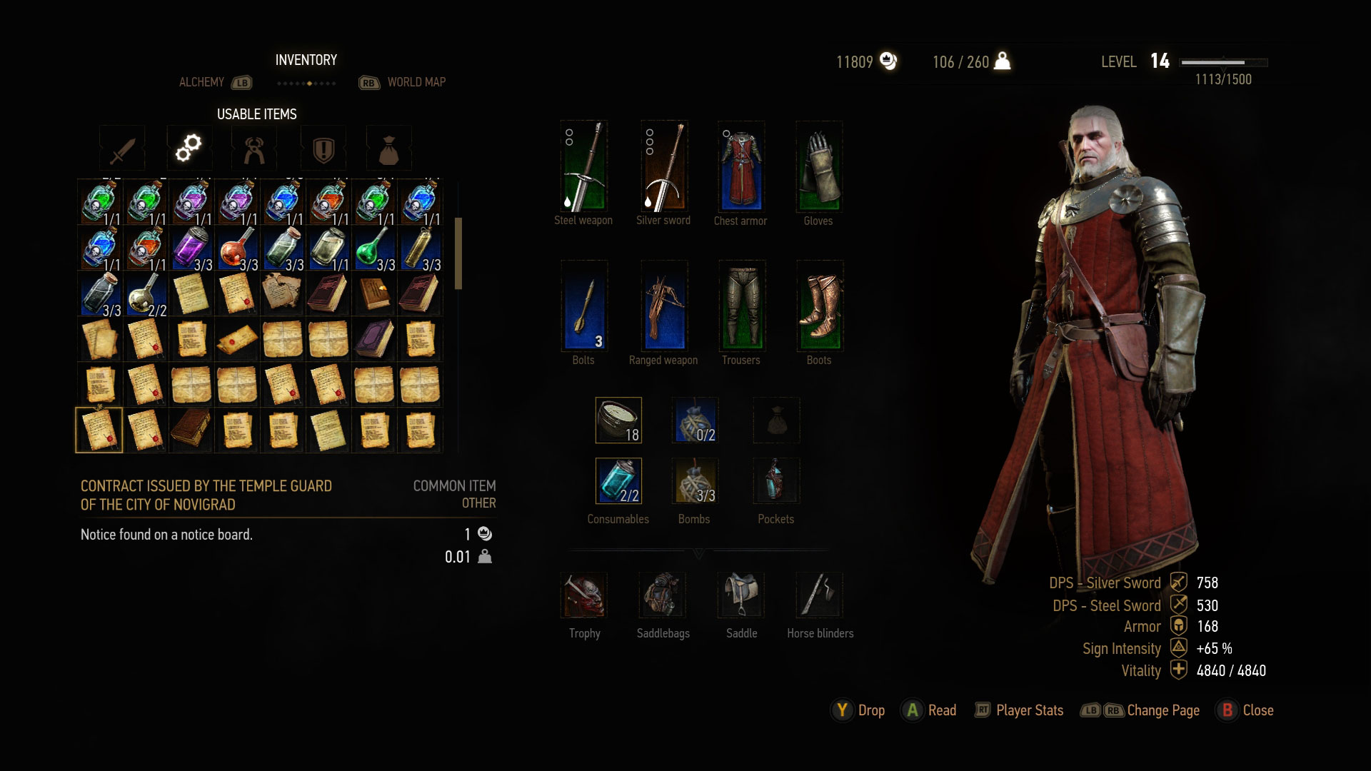 The Witcher 3: Wild Hunt inventario