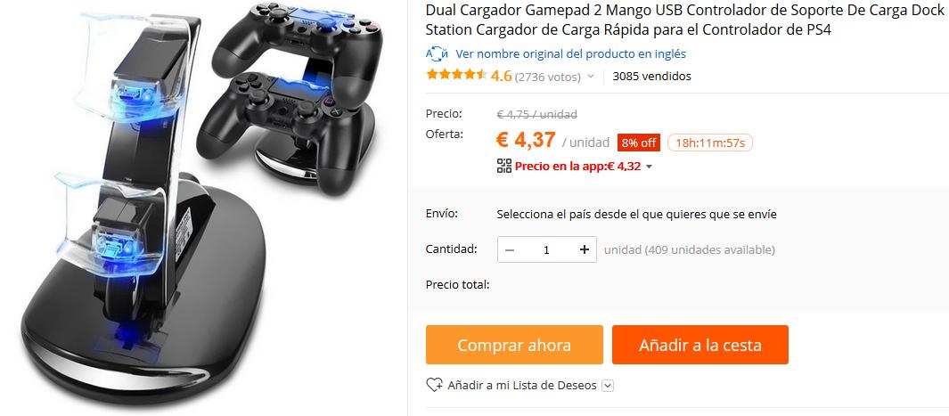 1. Cargador USB doble DualShock 4