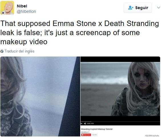 Fake Emma Stone en Death Stranding