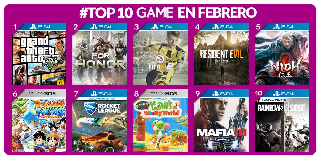 Los juegos más vendidos de febrero en GAME