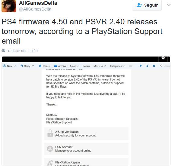Nueva actualización PS4