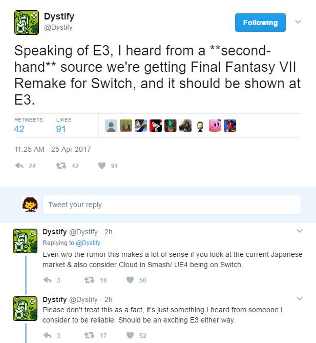 Final Fantasy VII Remake para Nintendo Switch rumor