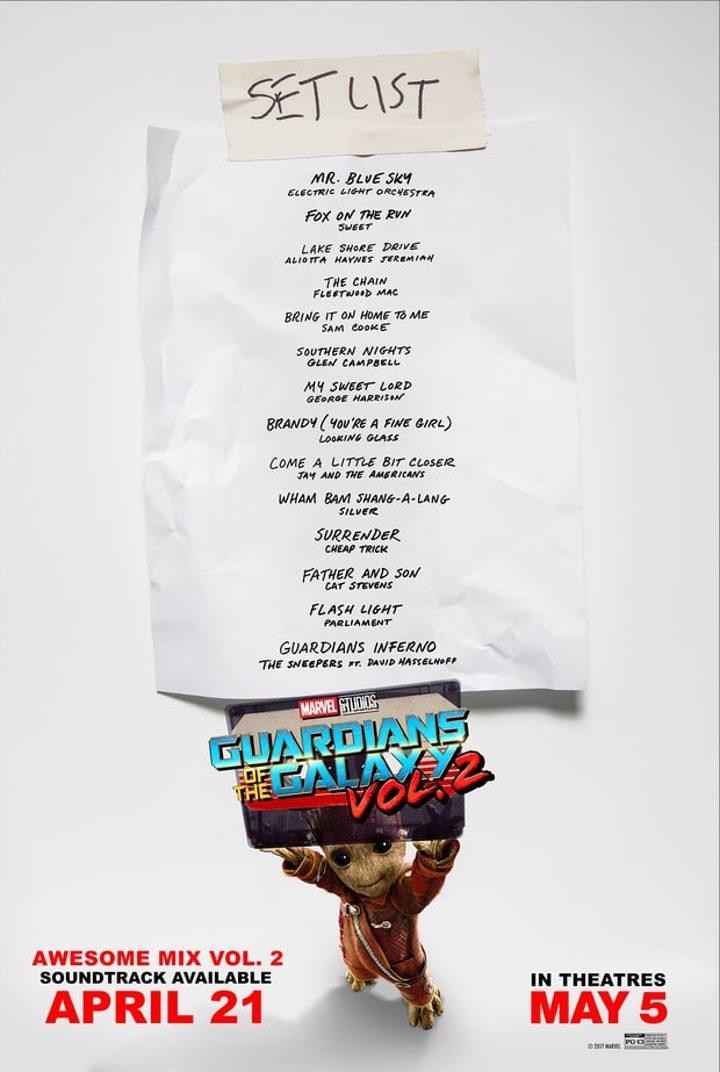 Guardianes de la Galaxia Vol. 2: lista de canciones