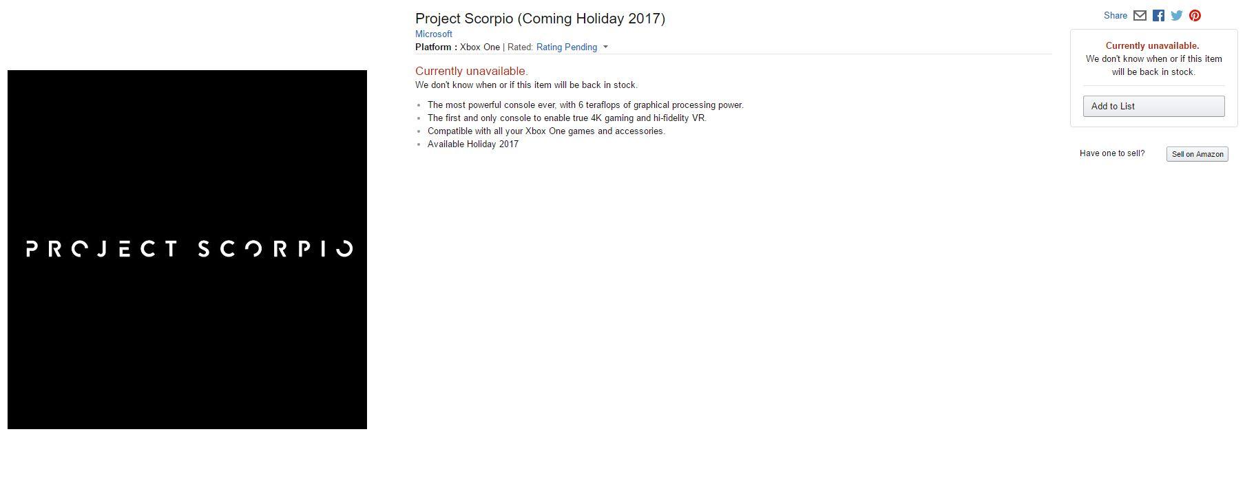 Project Scorpio aparece listada en Amazon