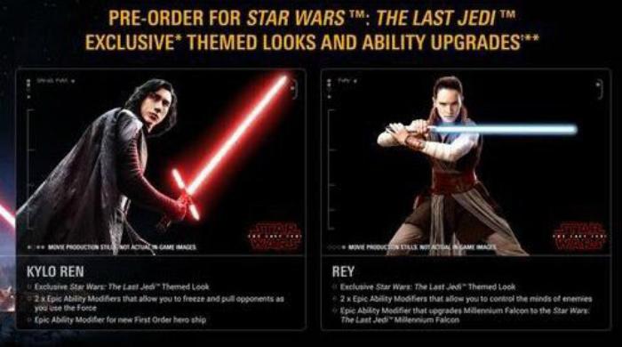 Rey y Kylo Ren en Star Wars Battlefront 2