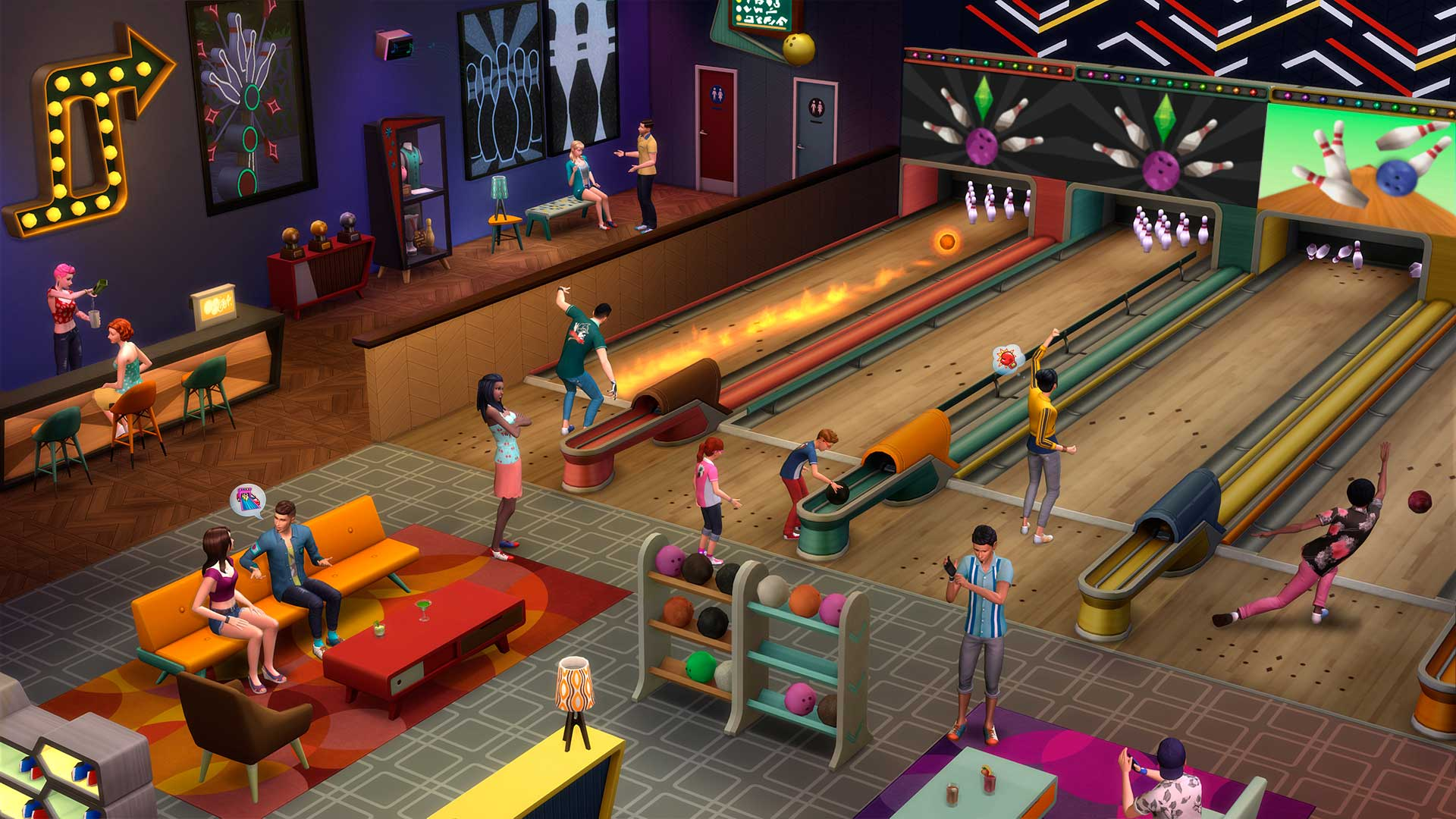 Los Sims 4 Noche de bolos pantalla