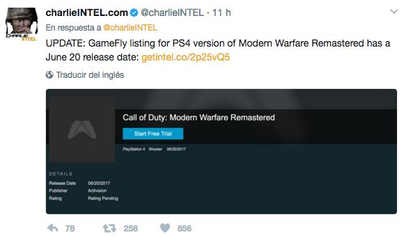 Call of Duty Modern Warfare a la venta por separado