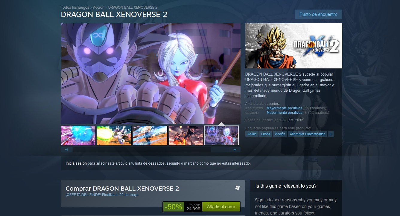 Dragon Ball Xenoverse 2 en Steam al 50%
