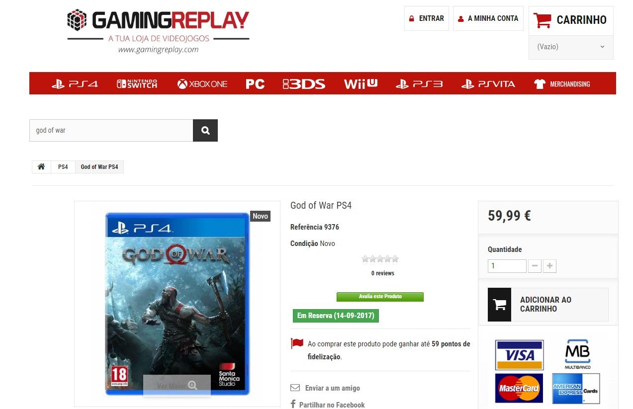 God of War para PS4 - Fecha de lanzamiento