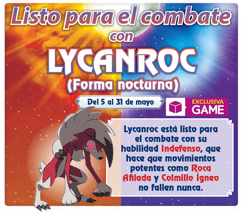 Pokémon Sol y Luna - Lycanroc en forma nocturna