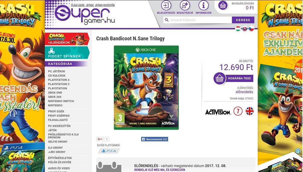 Crash Bandicoot N. Sane Trilogy en Xbox One