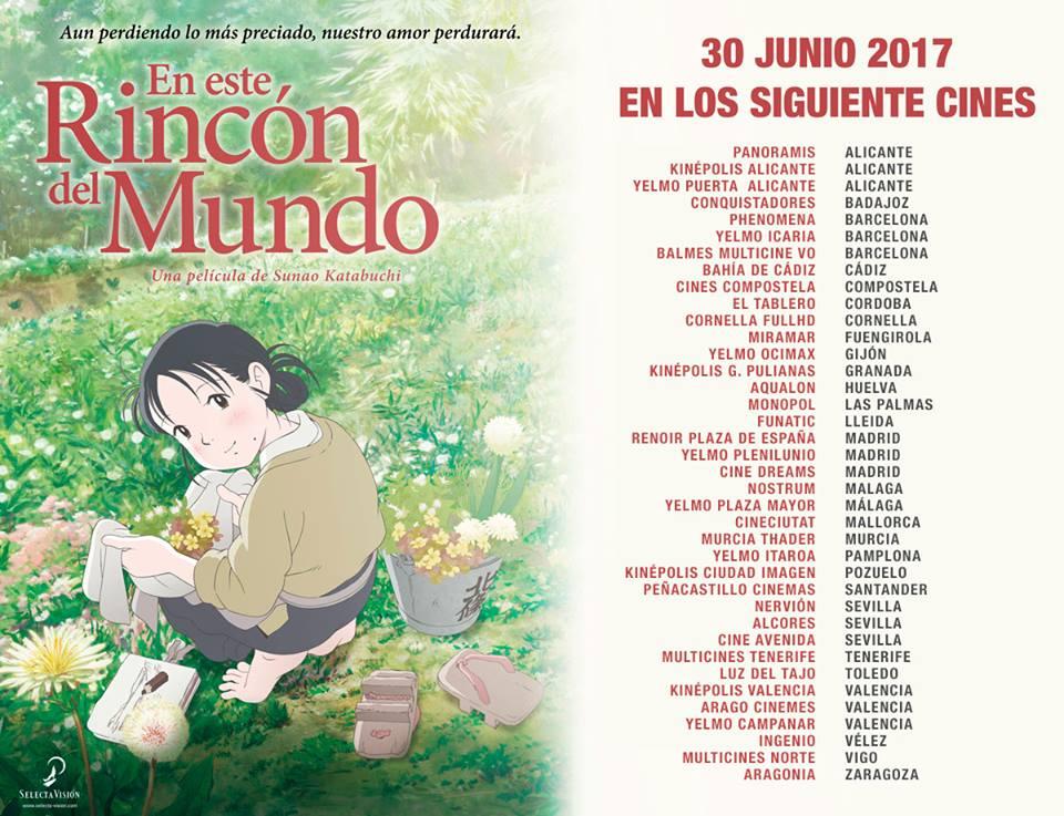 En este rincón del mundo - listado de cines en España