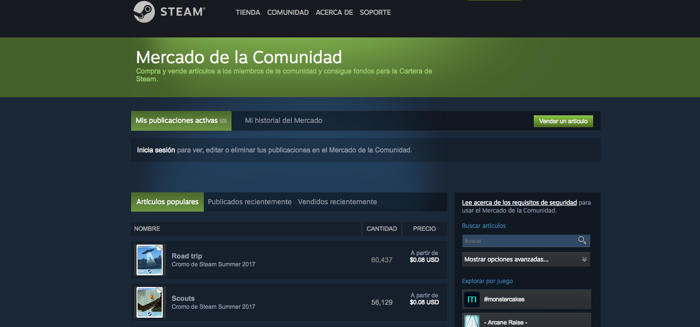Steam Mercado de la Comunidad