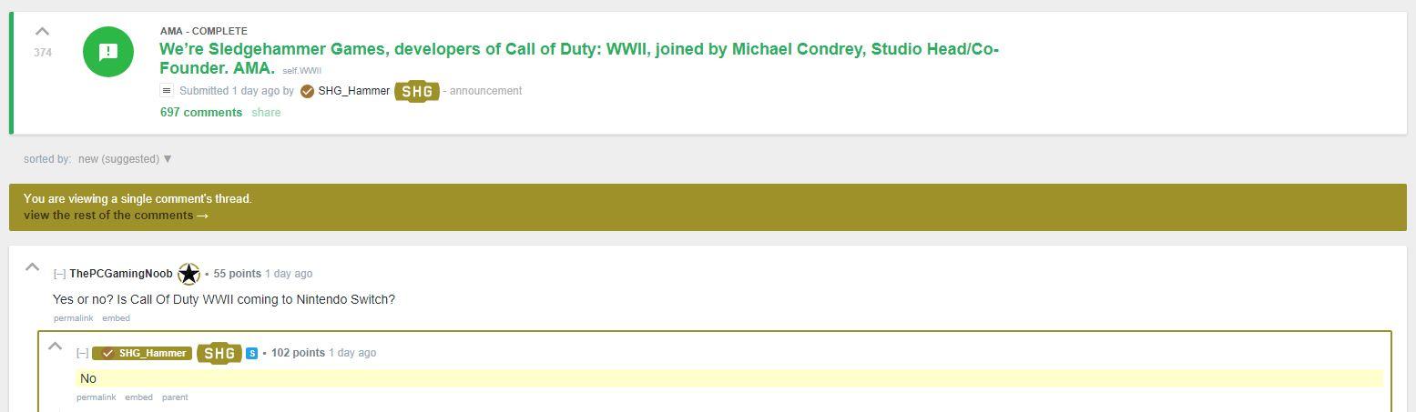 Call of Duty WWII - Sledgehammer asegura que no llegará a Nintendo Switch