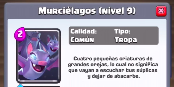 carta murciélagos de Clash Royale