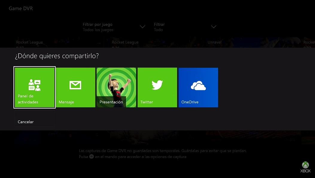 Compartir vídeos en Xbox One