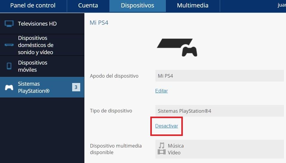 Desactivar cuenta PSN de PS4