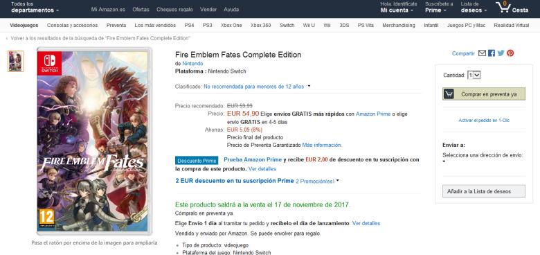 Fire Emblem Fates Complete Edition aparece listado brevemente para Nintendo Switch