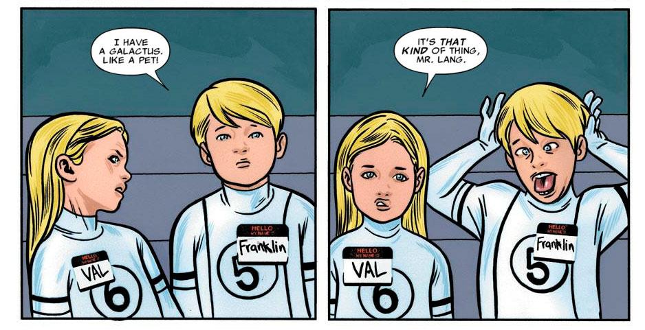 Franklin y Valeria Richards hijos de la Mujer Invisible y Mr. Fantástico