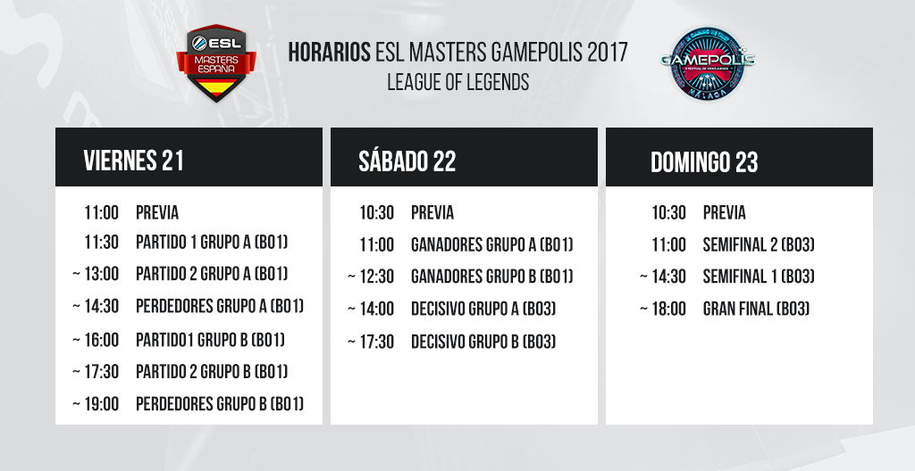 Horarios ESL Masters League of Legends