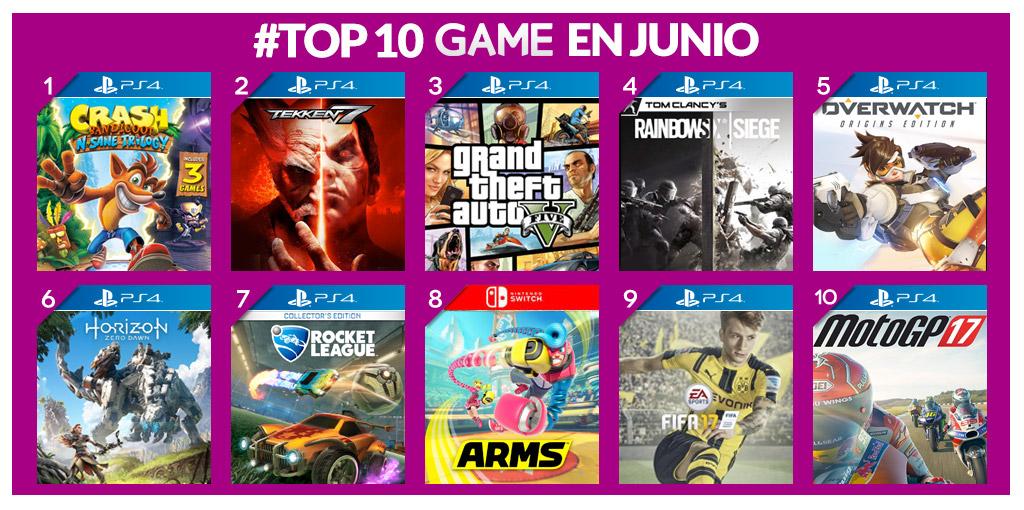 Top 10 juegos más vendidos de junio GAME